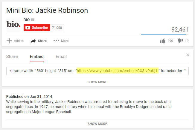 YouTube Embed Link for Tableau URL Dashboard Action