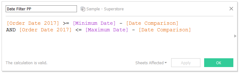 Tableau Date Filter Prior Period Calculated Field