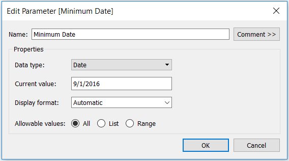 Tableau Minimum Date Parameter