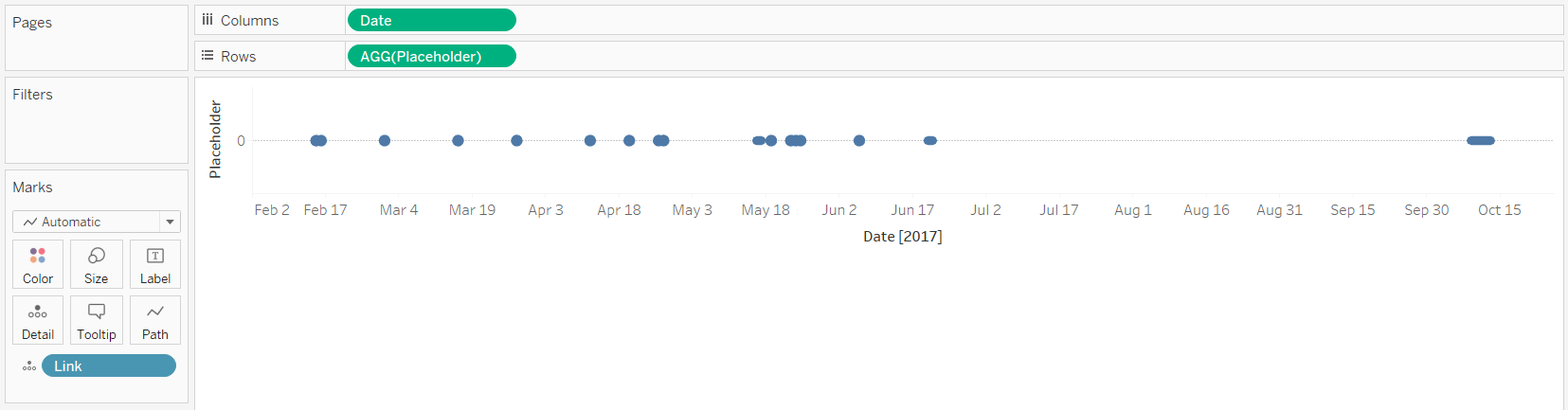 Tableau Timeline with Events on Detail Marks Card