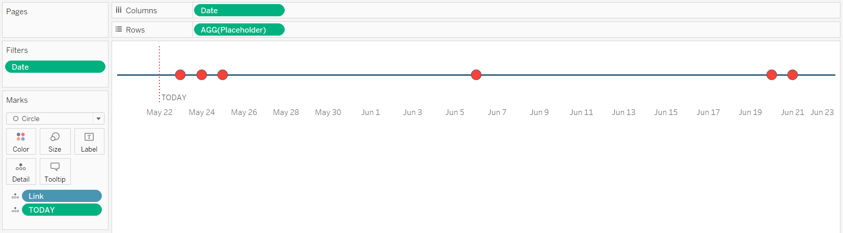 Tableau Timeline with Today Reference Line Final