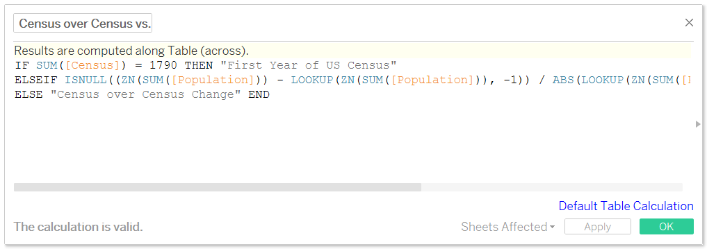 Tableau Dynamic Census over Census Change Tooltip Calculated Field
