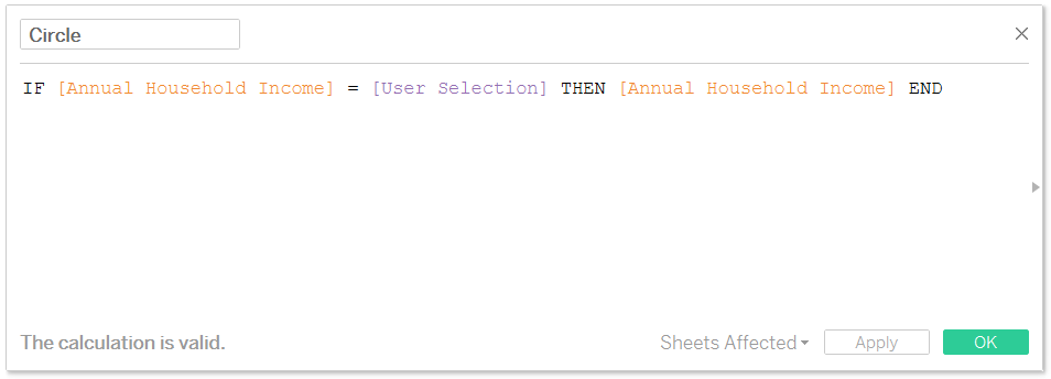 Tableau Calculated Field for Displaying User Selection