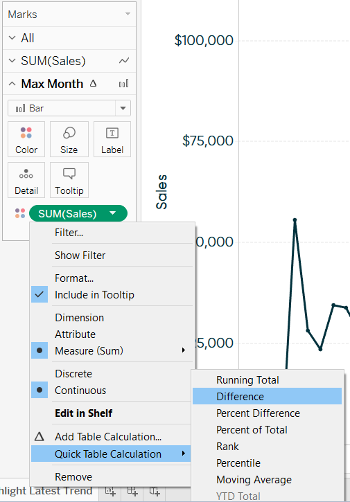 Tableau Quick Table Calculation for Sales Difference on Max Month