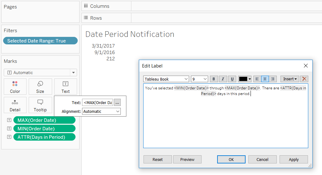Customizing the Text Marks Card in Tableau