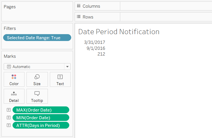 Tableau Dashboard with Days in Period Calculated Field