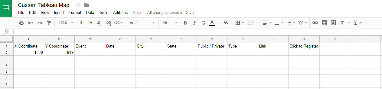 Custom Tableau Map Google Sheet with Placeholder