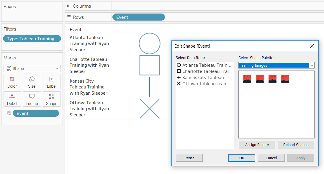 Selecting a Shape Palette in Tableau