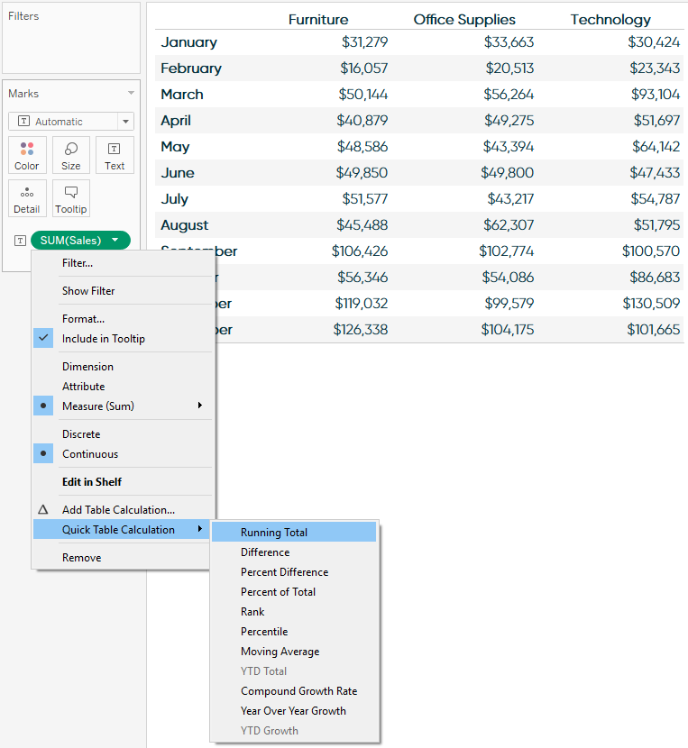 Adding a Quick Table Calculation to a Tableau Measure