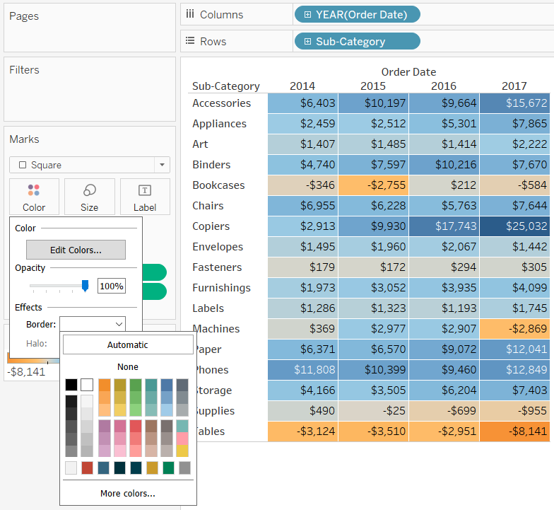 Changing the Border Effect on the Color Marks Card in Tableau
