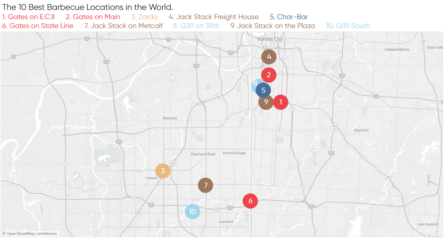 Tableau Default Symbol Map Showing Top 10 Barbecue Restaurants