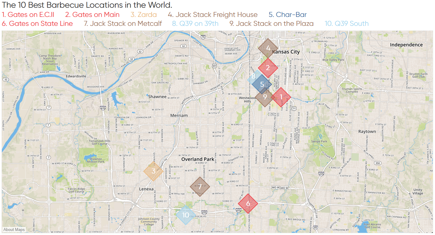 Top 10 Barbecue Restaurants Tableau Map with Streets Mapbox Style