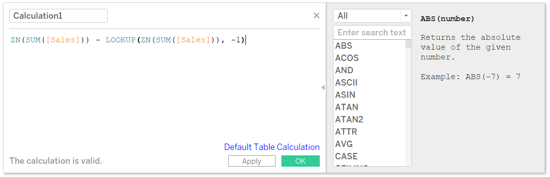Pasting a Tableau Table Calculation into a Calculated Field Dialog Box