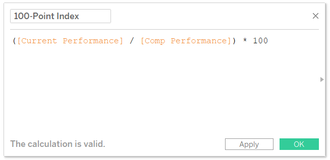 100 Point Index Calculated Field in Tableau
