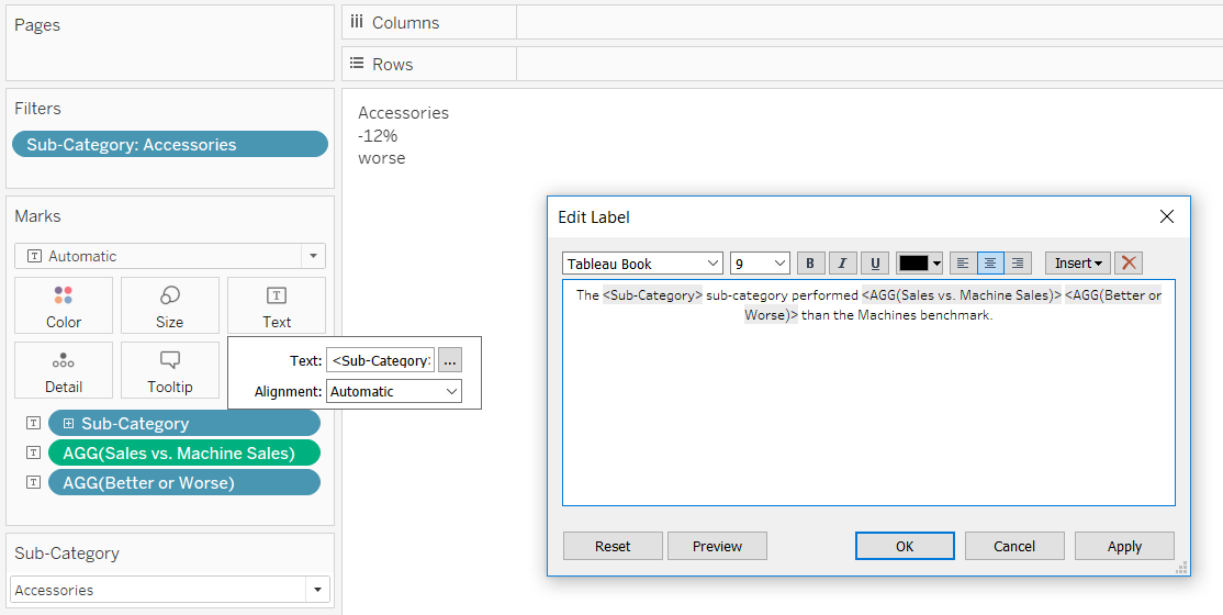Editing the Text Marks Card of an Automated Insight in Tableau