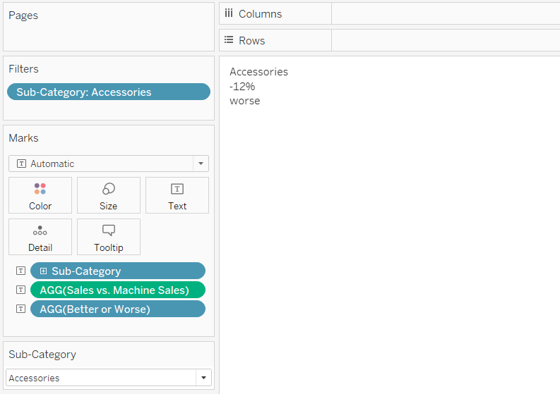 Filtering an Automatic Insight in Tableau to the Accessories Sub-Category