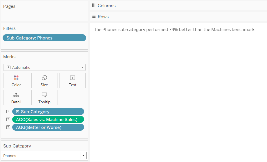 Phones Compared to the Machines Benchmark Tableau Automated Insight