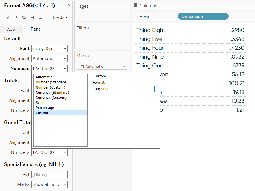 Changing Number Formatting to Display Different Numbers of Decimal Places in Tableau