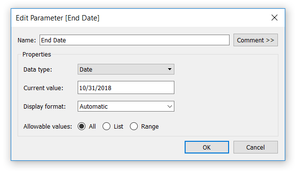 Creating an End Date Parameter in Tableau