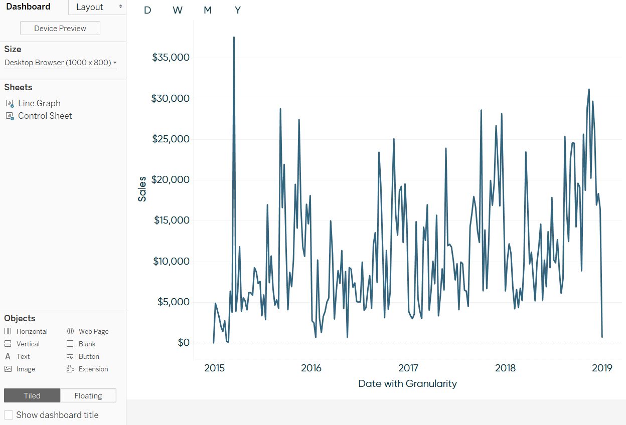 Tableau Dashboard with Control Sheet and Line Graph