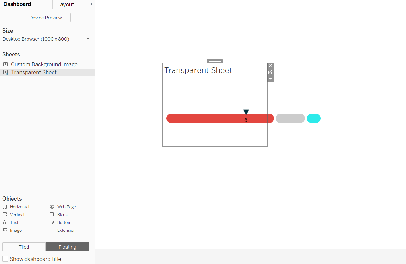 Floating a Transparent Sheet over an Image Object in Tableau