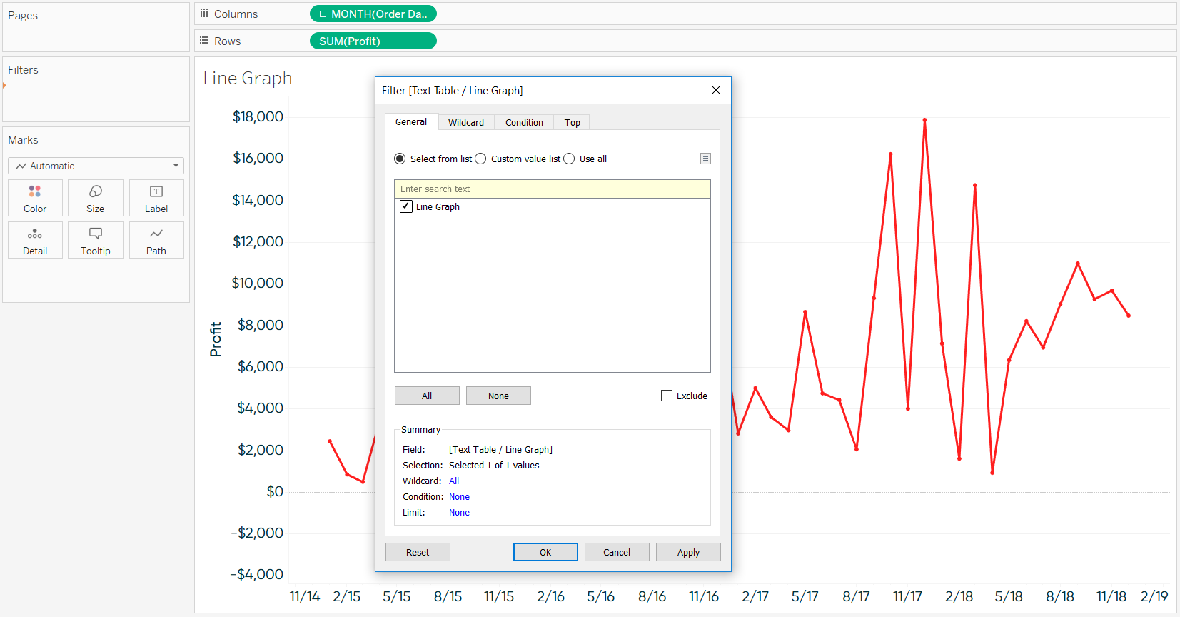 Filtering Toggle to Line Graph in Tableau