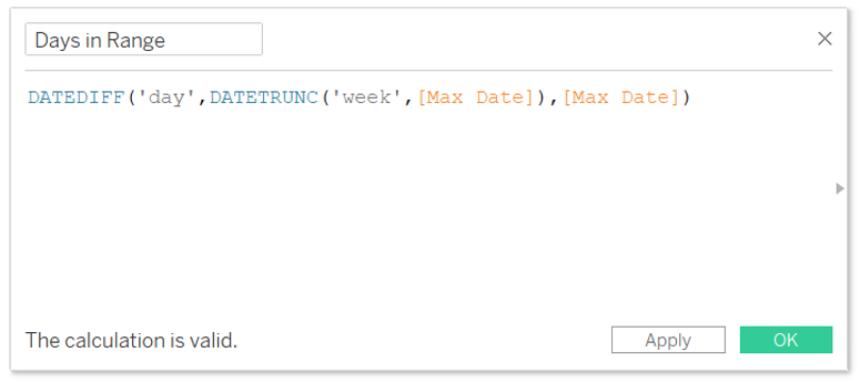 Max Date Minus Start of Partial Range Calculated Field in Tableau